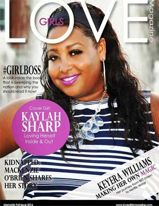 Inage represnting the Kaylah Sharp cover girl on the Memphis Fall 2016 issue of Love Girls